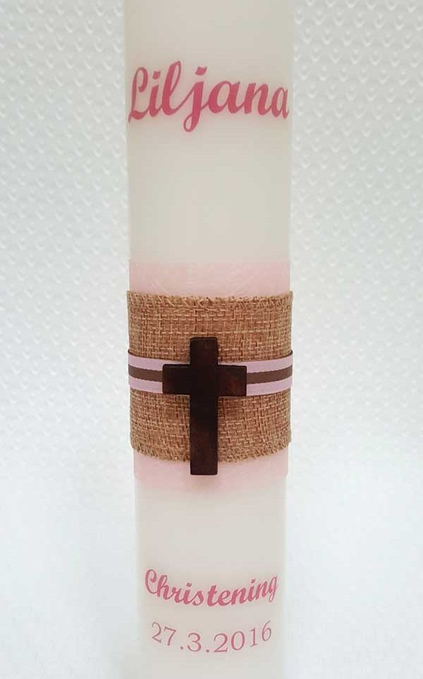 Candle personal personalised baptism christening cross religious christian godmother godfather godparent celebration catholic