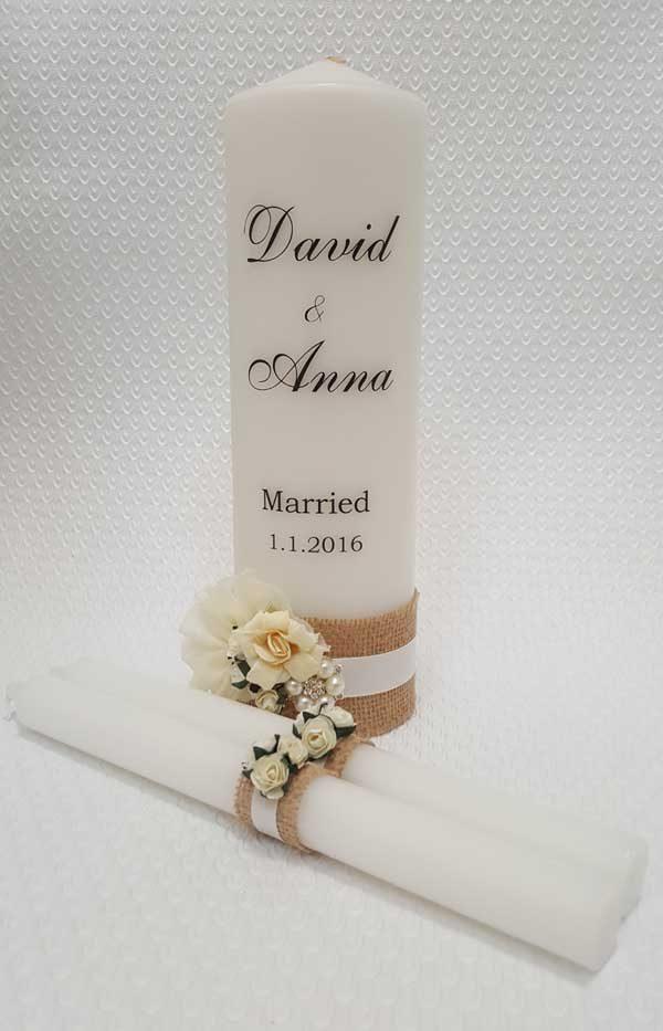 Candle personal personalised wedding unity family set celebration
