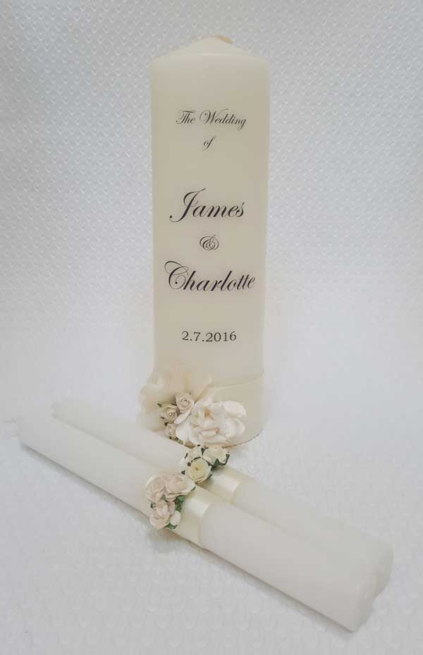 Candle personal personalised wedding unity family set celebration