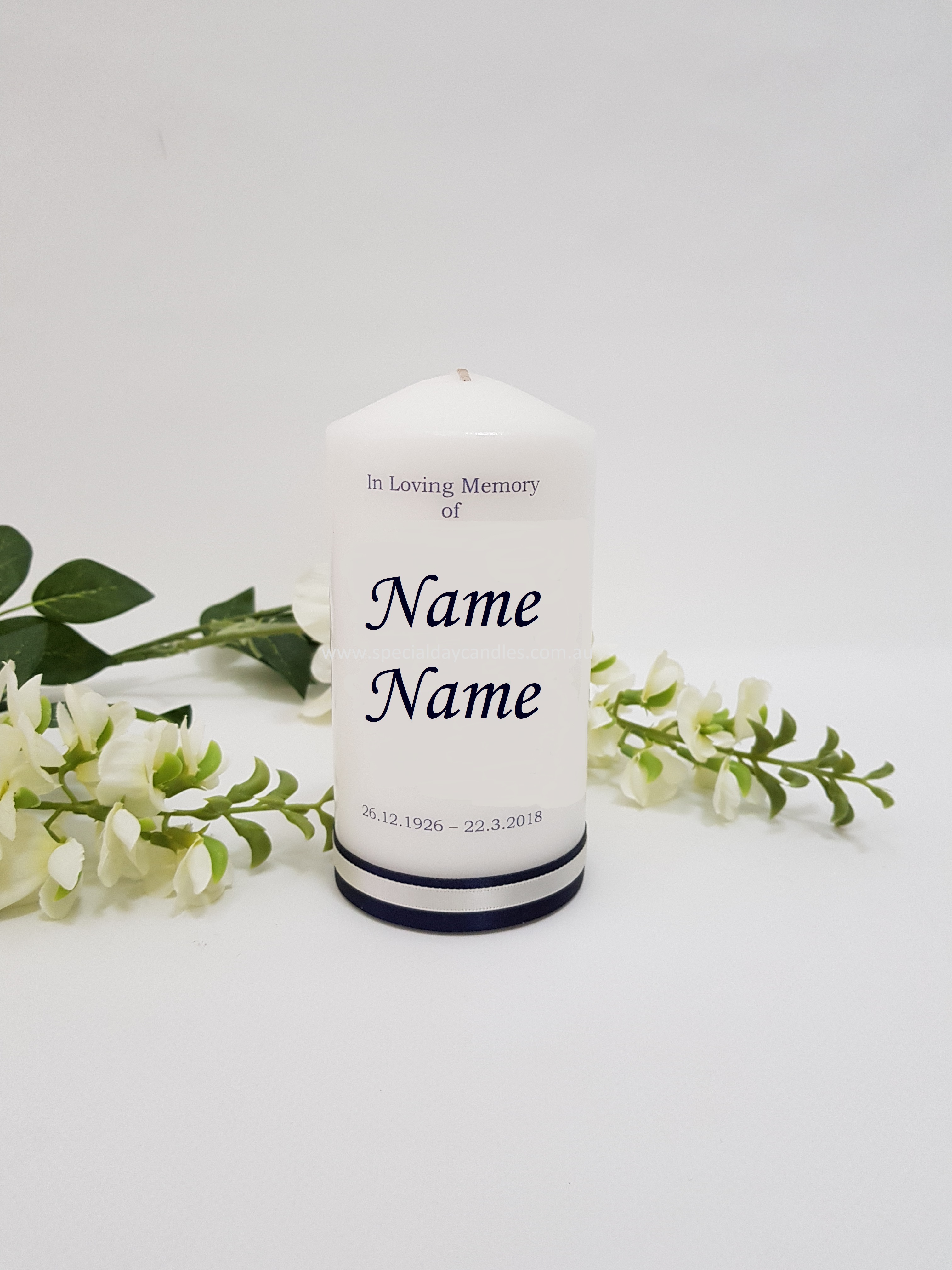 Memorial 3 special day candles memorial funeral personalised candle photo n3f2f6 izmirmasajfo